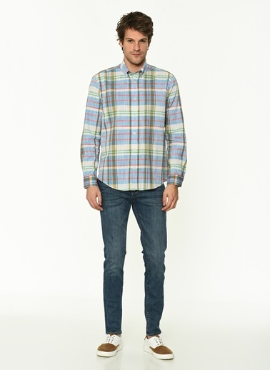 George Hogg George Hogg Düğmeli Yaka Uzun Kollu Slim Fit Ekoseli Erkek Pamuk Gömlek Mavi